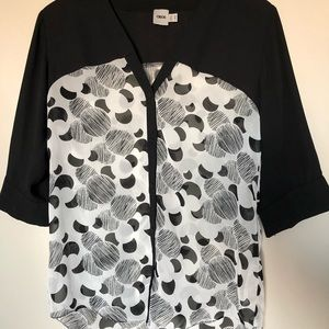 Sheer Black and White Work Blouse